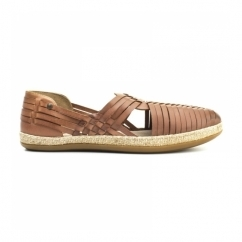 GLASTO WEAVE Mens Leather Woven Sandals Tan