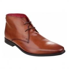 HENRY Mens Waxy Leather Chukka Boots Tan