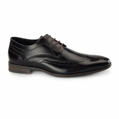 CATANIA Mens Leather Derby Brogues Rubbed Black/Red