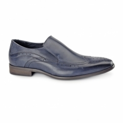 VICENZA Mens Leather Slip On Brogues Blue