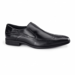 VICENZA Mens Leather Slip On Brogues Black