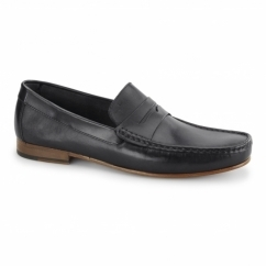 NUMANA Mens Leather Penny Loafers Black