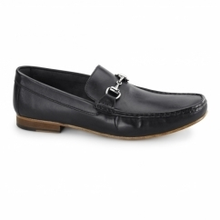 OTRANTO Mens Leather Penny Loafers Black