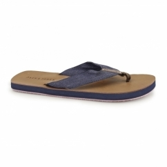 JJTYBONE Mens Leather Toe Post Flip Flops Friar Brown