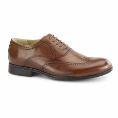 BUGATTI Mens Waxed Leather Oxford Brogues Cognac