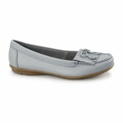 CEIL MOCC KILTY Ladies Leather Loafer Shoes Slate Blue