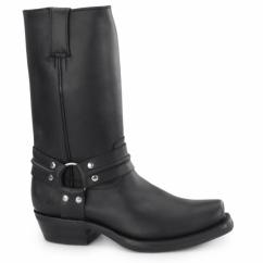 RENEGADE HI Unisex Leather Harness Biker Boots Black