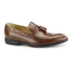 FLECK Mens Leather Brogue Tassel Loafers Cognac