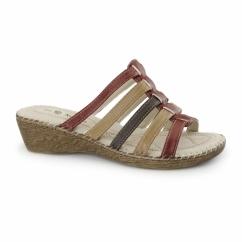 CLARICE Ladies Wedge Mule Sandals Red Multi