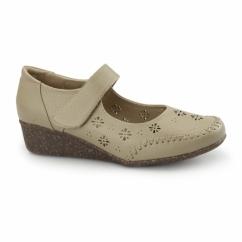 BRONTE Ladies Velcro Mary Jane Shoes Beige