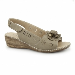 JENNY Ladies Slingback Wedge Sandals Stone