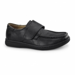 ALBIE Mens Casual Touch Fasten Shoes Black