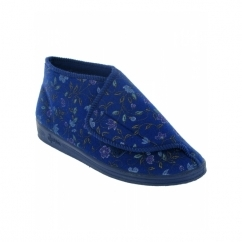 MILDRED Ladies Floral Wide Fitting Bootie Slippers Blue