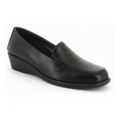 FOUR WILLIAM Ladies Leather Slip On Loafers Black