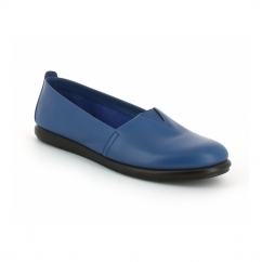 CATALAN Ladies Leather Casual Espadrilles Royal Blue