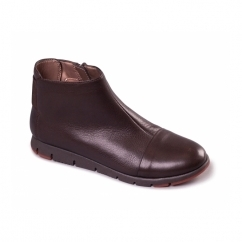 FAST RUN Ladies Leather Ankle Boots Dark Brown