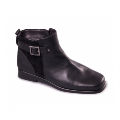 BERBERRY Ladies Leather Buckle Ankle Boots Black