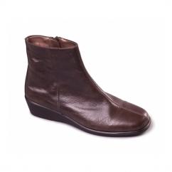 FANTASTIC 4 Ladies Leather Heeled Boots Dark Brown