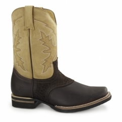 FRONTIER Unisex Leather Cowboy Boots Brown
