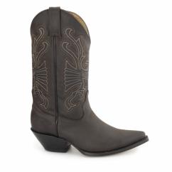 BUFFALO Unisex Leather Cuban Heel Cowboy Boots Brown