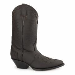 ARIZONA HI Unisex Leather Cuban Heel Cowboy Boots Brown