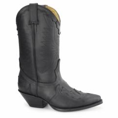 ARIZONA HI Unisex Leather Cuban Heel Cowboy Boots Black