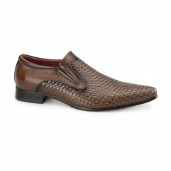 MONTIAGO Mens Pointed Loafers Weave Brown