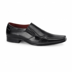 LEONARD Mens Faux Leather Loafers Black