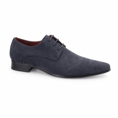 AZZURRA Mens Faux Suede Pointed Shoes Blue