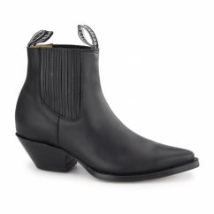 MUSTANG Unisex Leather Cuban Heel Chelsea Boots Black