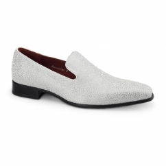 CARLO Mens Slip On Loafers White Diamond