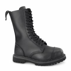 HERALD CS Unisex Leather Steel Toe Mid Calf Boots Black