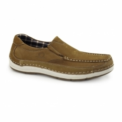 MARSHALL Mens Nubuck Loafer Shoes Tan