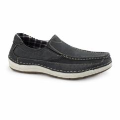 MARSHALL Mens Nubuck Loafer Shoes Navy