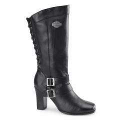 SHELIA Ladies Leather Zip Heeled Boots Black