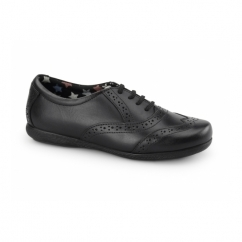 FAITH Girls Leather Brogue School Shoes Black