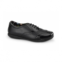 FAITH Girls Patent Leather Brogue School Shoes Black