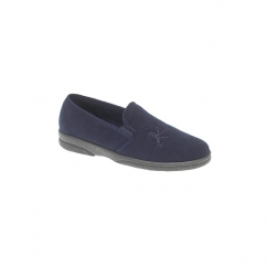 FRAZER Mens Faux Suede Full Slippers Navy