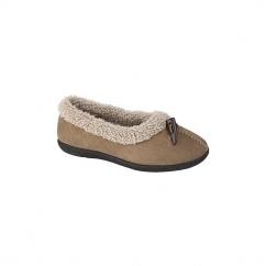 TANYA Ladies Fleece Memory Foam Full Slippers Tan