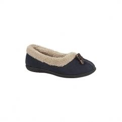 TANYA Ladies Fleece Memory Foam Full Slippers Navy