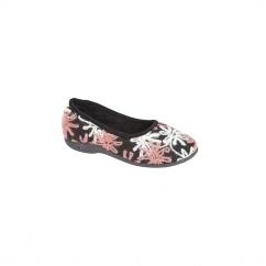 SOPHIE Ladies Knitted Floral Slippers Black/Pink