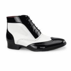 MONTEZ Mens Brogue Patent Faux Leather Boots Black/White