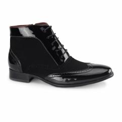 MONTEZ Mens Brogue Patent Faux Leather Boots Black