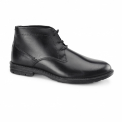 JACKSON Mens Leather Desert Boots Black