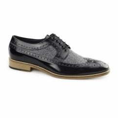 CATANIA Mens Leather Tweed Brogues Black/Grey