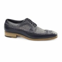 CATANIA Mens Leather Tweed Brogues Navy/Grey
