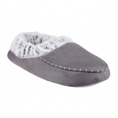 PRAGUE Ladies Warm Lined Full Slippers Grey