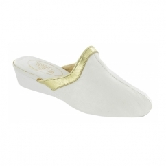 SIGNATURE Ladies Leather Heeled Slippers White/Gold