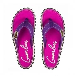 ISLANDER Ladies Canvas Flip Flops Purple Signed