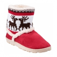 DENMARK JUNIOR Girls Nordic Bootie Slippers Red